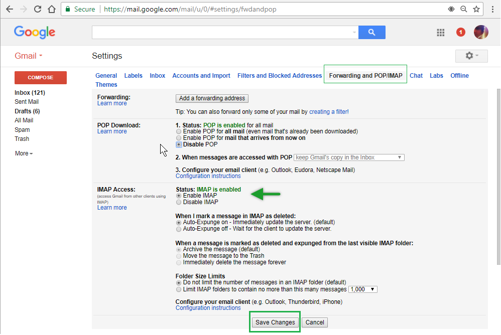 a webmail view of Gmail Settings