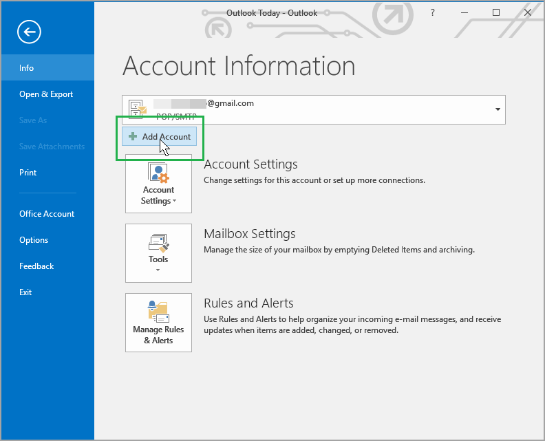 view of Outlook 2016 Add Account button