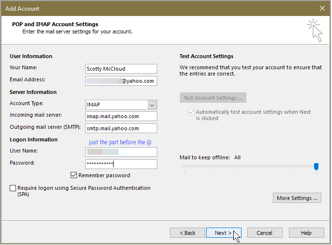 Yahoo Account In Outlook 2016 Using Imap