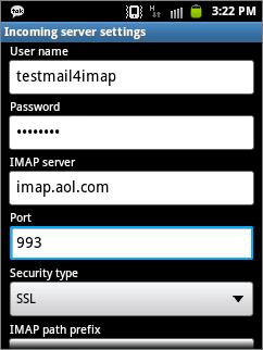 samsung galaxy s6 imap email setup