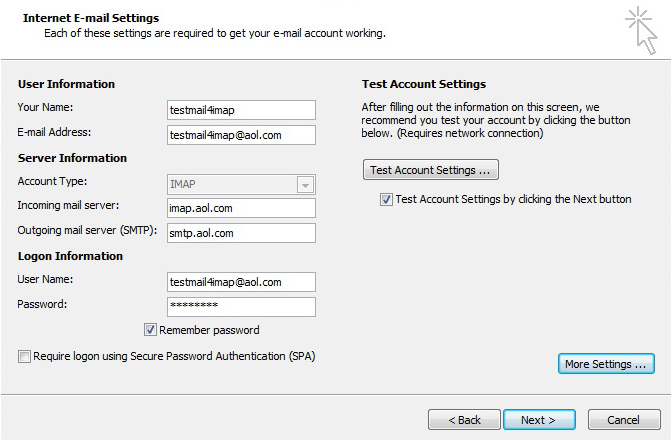 AOL Mail Account to Outlook 2010 Using IMAP