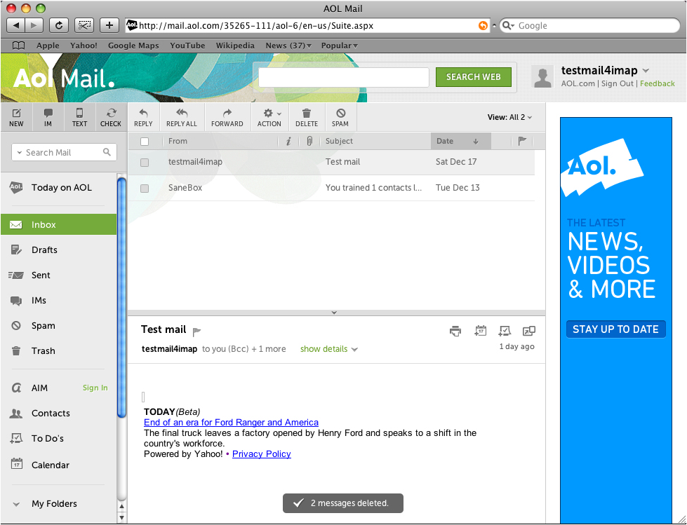 AOL Mail Account to Outlook 2011 Mac Using IMAP