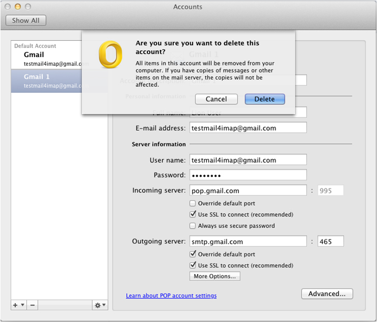 outlook settings for gmail mac