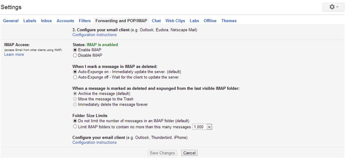 Gmail Outlook 2013