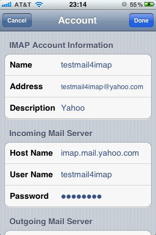 Yahoo mail Account to iPhone Using IMAP