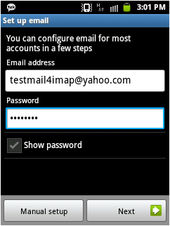 how to set up yahoo pop3 email samsung