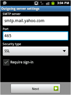How to setup yahoo.co.in email on android