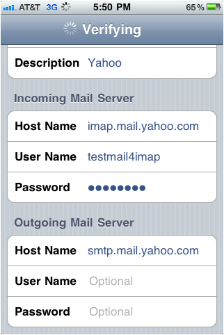 imap server settings for yahoo mail iphone