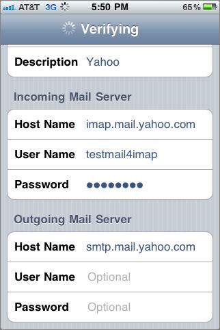 smtp server yahoo.it