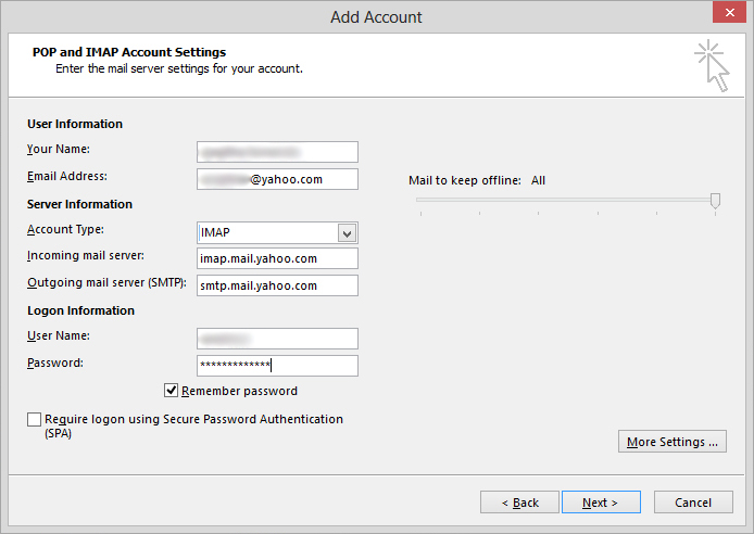 yahoo pop settings for outlook 2013