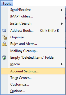 Yahoo mail Account to Outlook 2007 Using IMAP