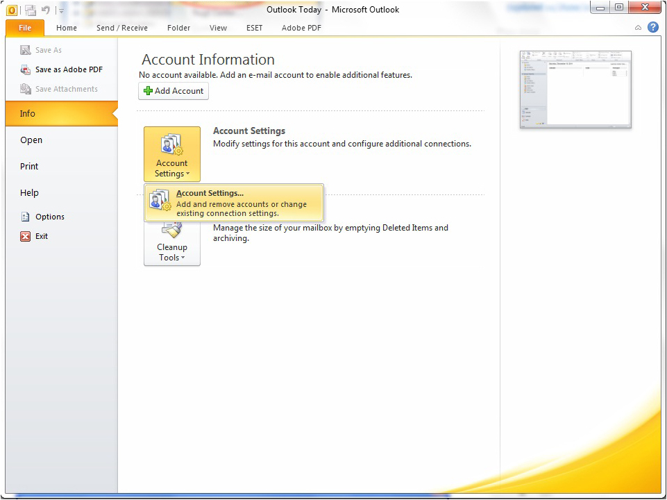 Yahoo Account to Outlook 2010 Using IMAP