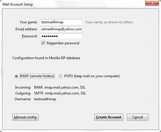 Yahoo mail Account to Thunderbird Using IMAP